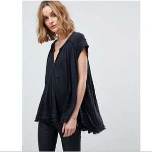 Free People Aster Henley Black L